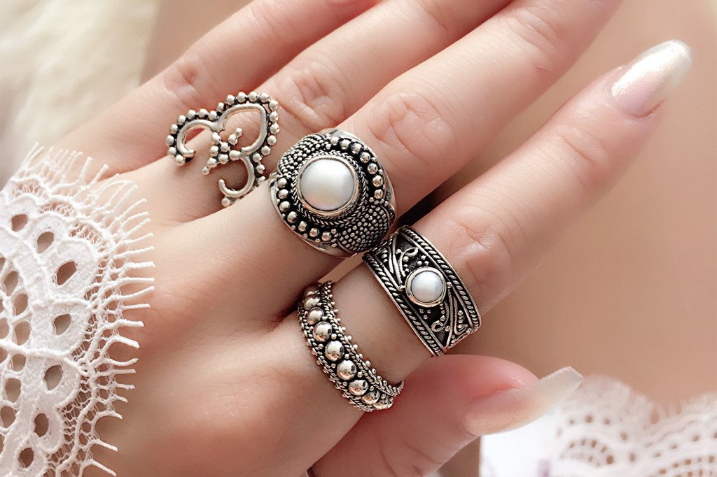 silver ring set bohemian boho chic style gypsy jewels handmade kemmi collection