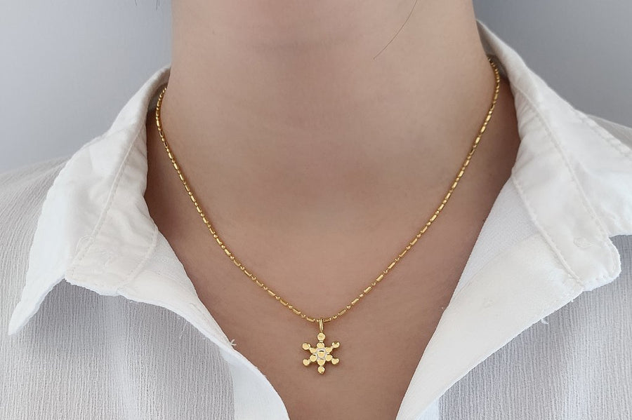 Small Fruit of Life Symbol Pendant Nekclace 18k Yellow Gold vermeil boho chic Jewelry handmade kemmi collection