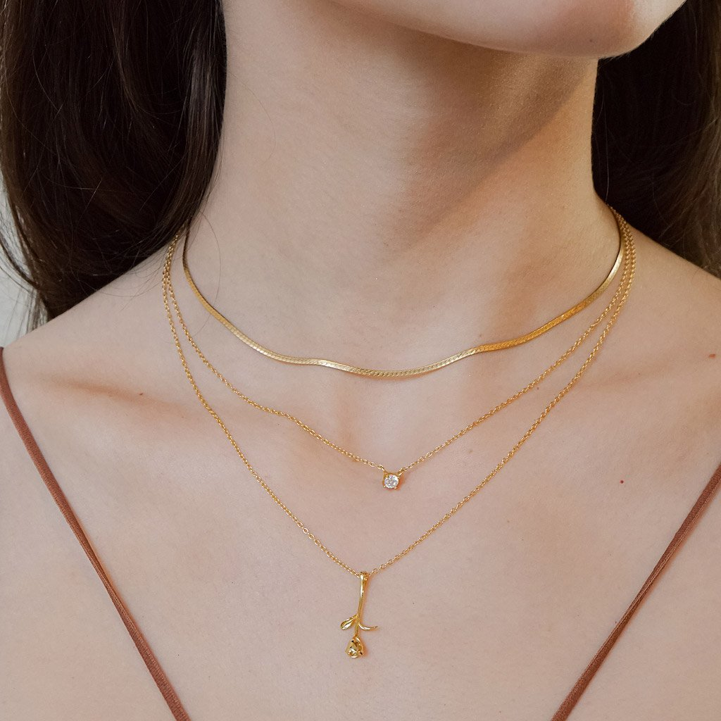 14k gold vermeil rose pendant necklace stacking layered style boho chic elegant jewelry kemmi collection