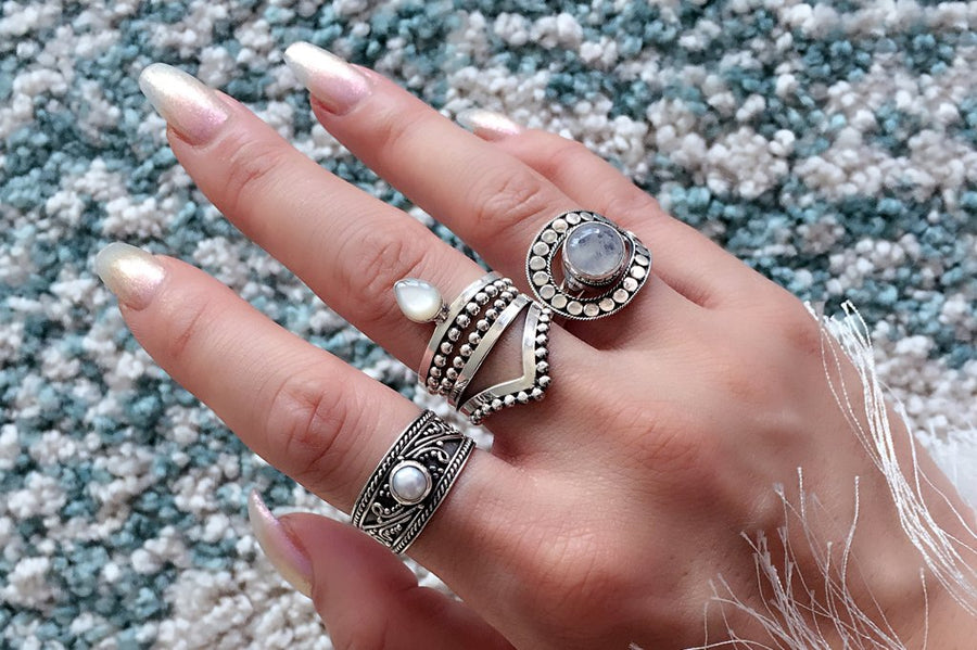 women's silver ring pearl stackable bohemian boho chic jewelry handmade kemmi collection