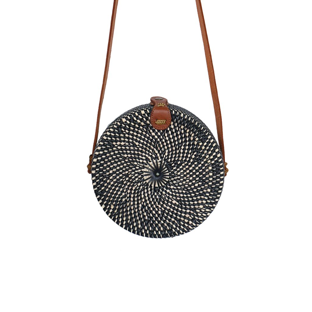 Classic Round Black & Natural Straw Bag