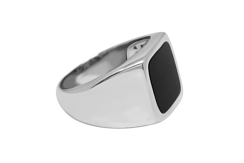 Men's Silver Signet Onyx Ring