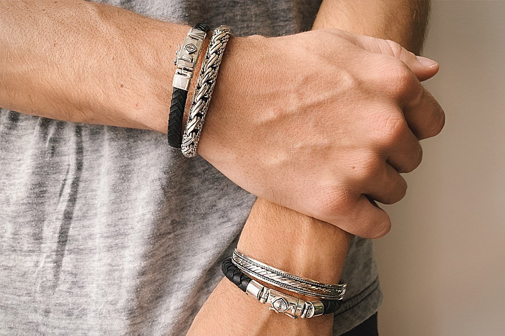 men's leather sterling silver bracelets accessory jewelry kemmi collection