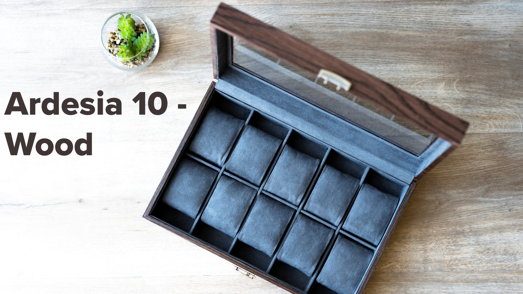 solid wood piano finish watch box with high clearance