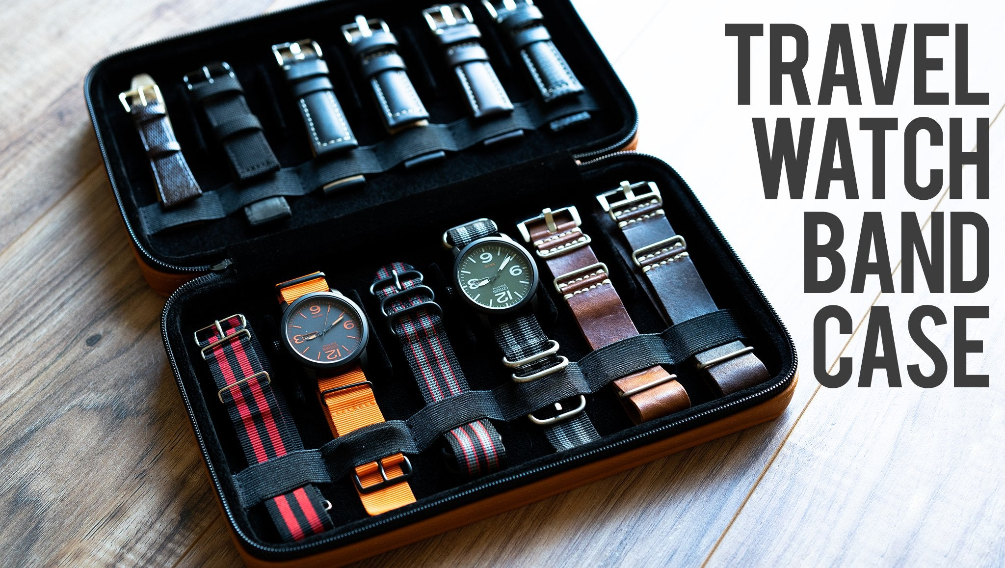 Caddy Bay Collection Watch Band Case Travel Orange