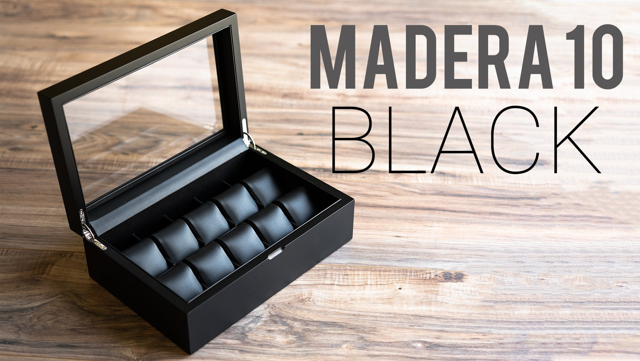 Caddy Bay Collection Madera 10 Black Wood Watch Case