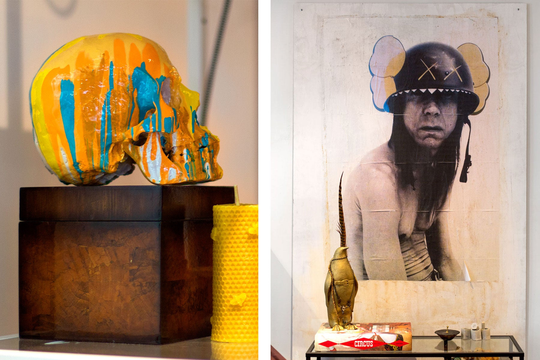 A painted skull and an art piece featuring Iggy Pop adorn the studio of jeweler, Blair Lauren Brown