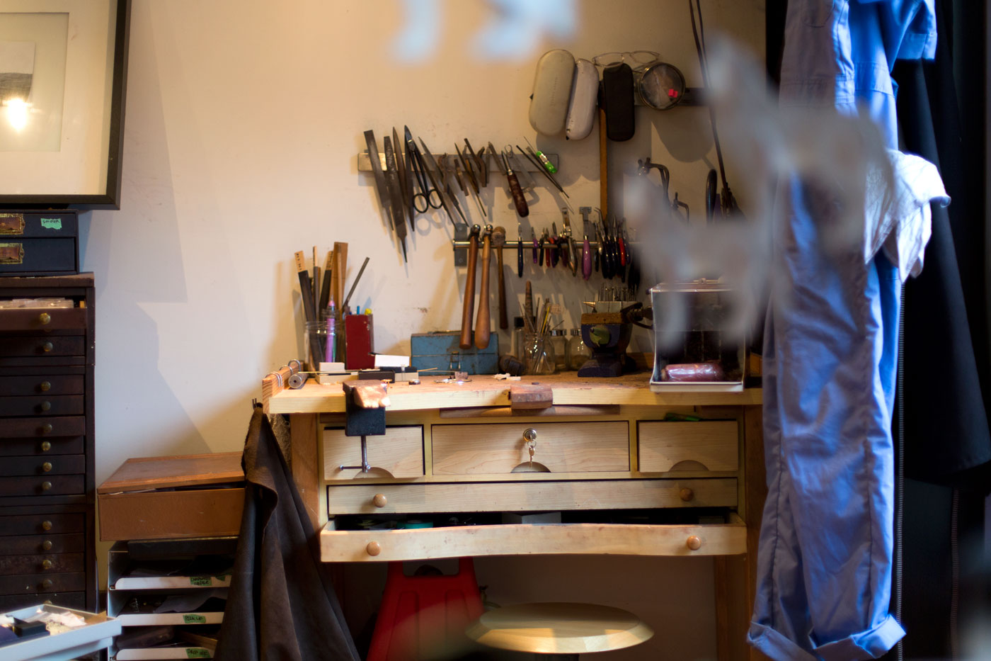 The jewelry workbench in Blair Lauren Brown's studio