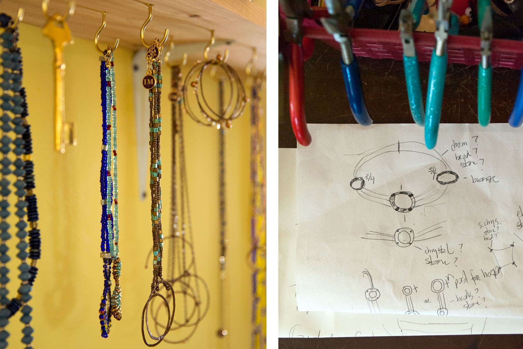 Beads and tools in the studio of portland, maine based jewelry-maker, Sharon Herrick of Illuminated Me