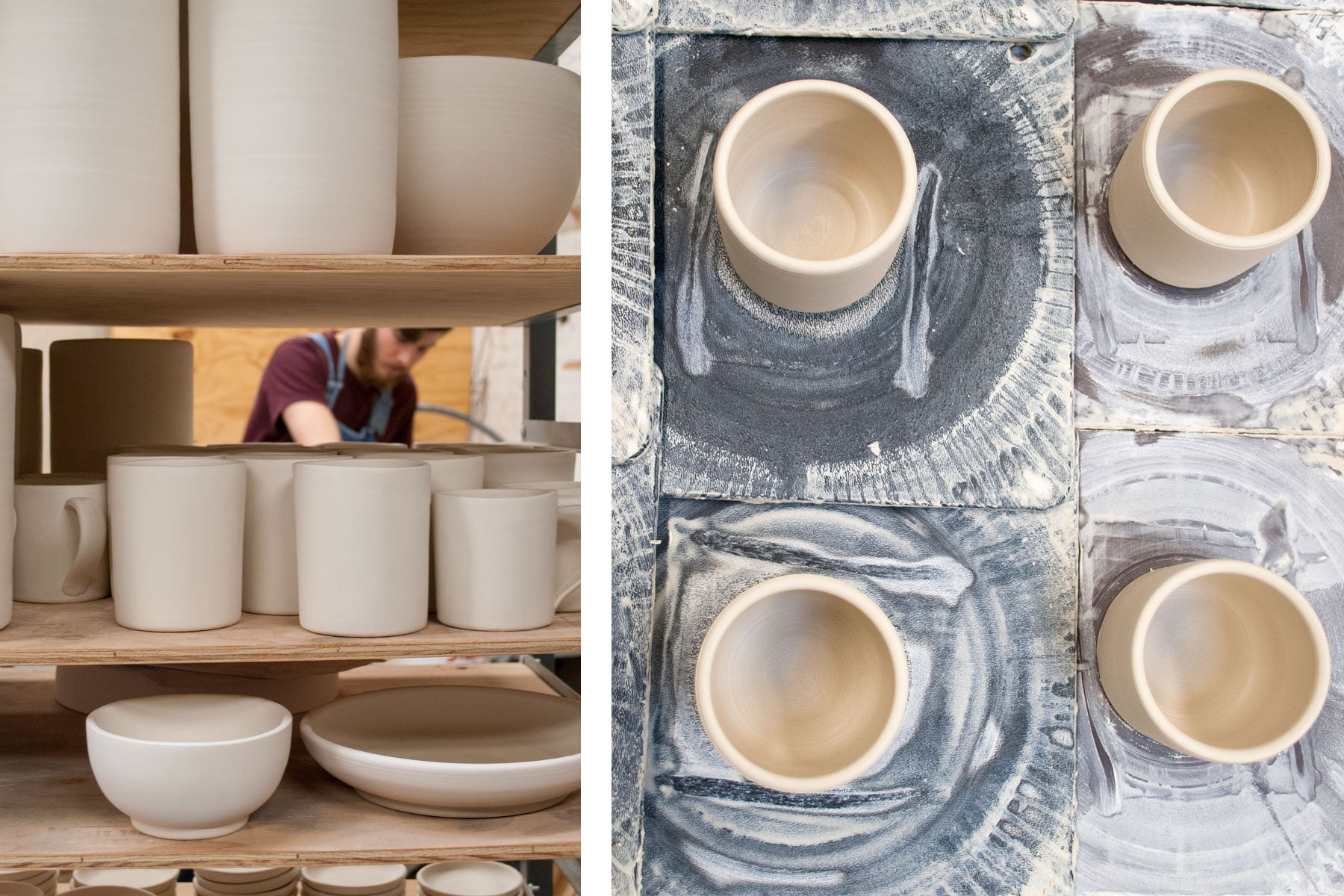 in the studio with skt ceramics - pottery drying on the shelf