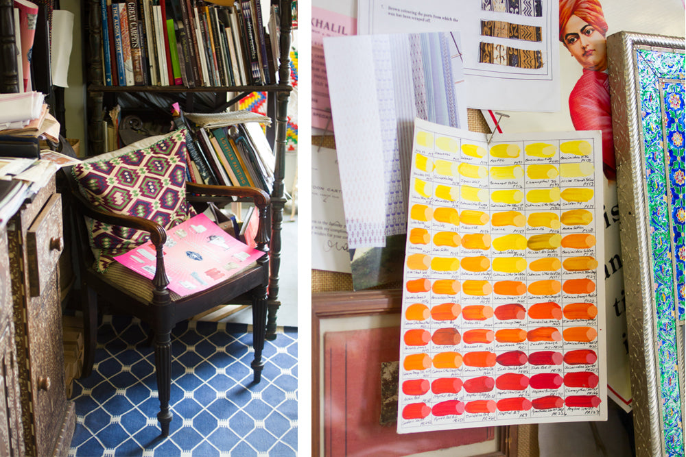 Color Swatches and Vintage Chair in artisan John Robshaw's Studio | k colette