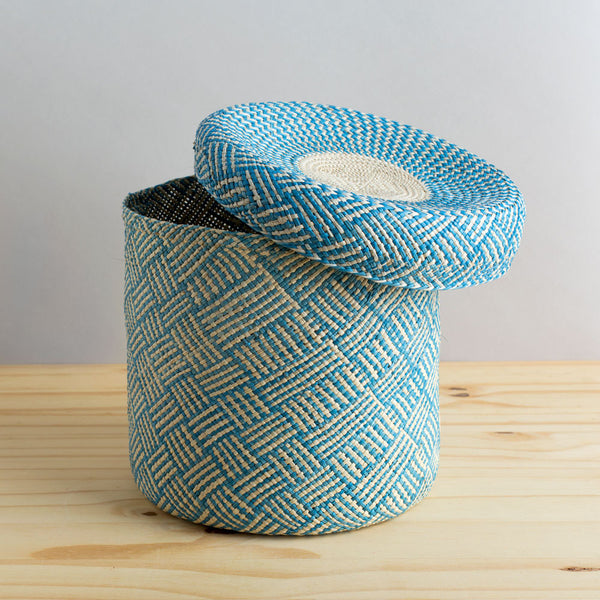 lidded africa iraca straw basket, sky blue-desktop - utility & storage - art & decor - decorative objects-guanábana-small-k colette