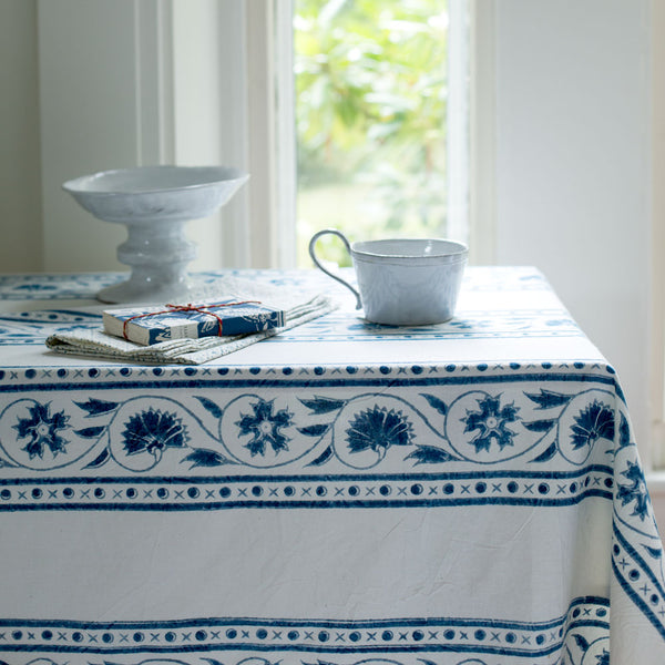 adele indigo tablecloth-kitchen & dining - table linens-les indiennes-k colette