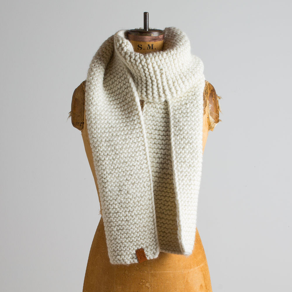 chunky knit scarf-accessories - scarves-sien + co-ivory-k colette