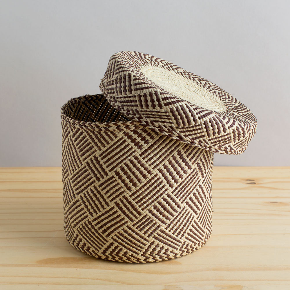 lidded africa iraca straw basket, toast-desktop - utility & storage - art & decor - decorative objects-guanábana-large-k colette