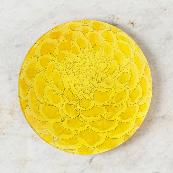 cox's yellow defiance dahlia and such round tray-art & decor - decoupage-john derian-k colette