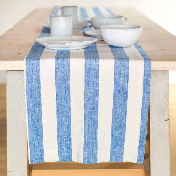 "blue & white philippe table runner-kitchen & dining - table linens - sale-linenMe-16"" x 108""-k colette"