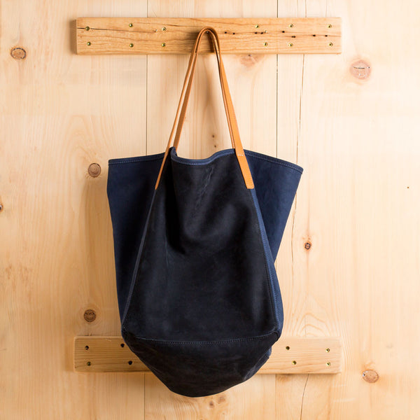 nubuck leather city tote, black & navy-accessories - handbags & clutches-graf & lantz-Default-k colette