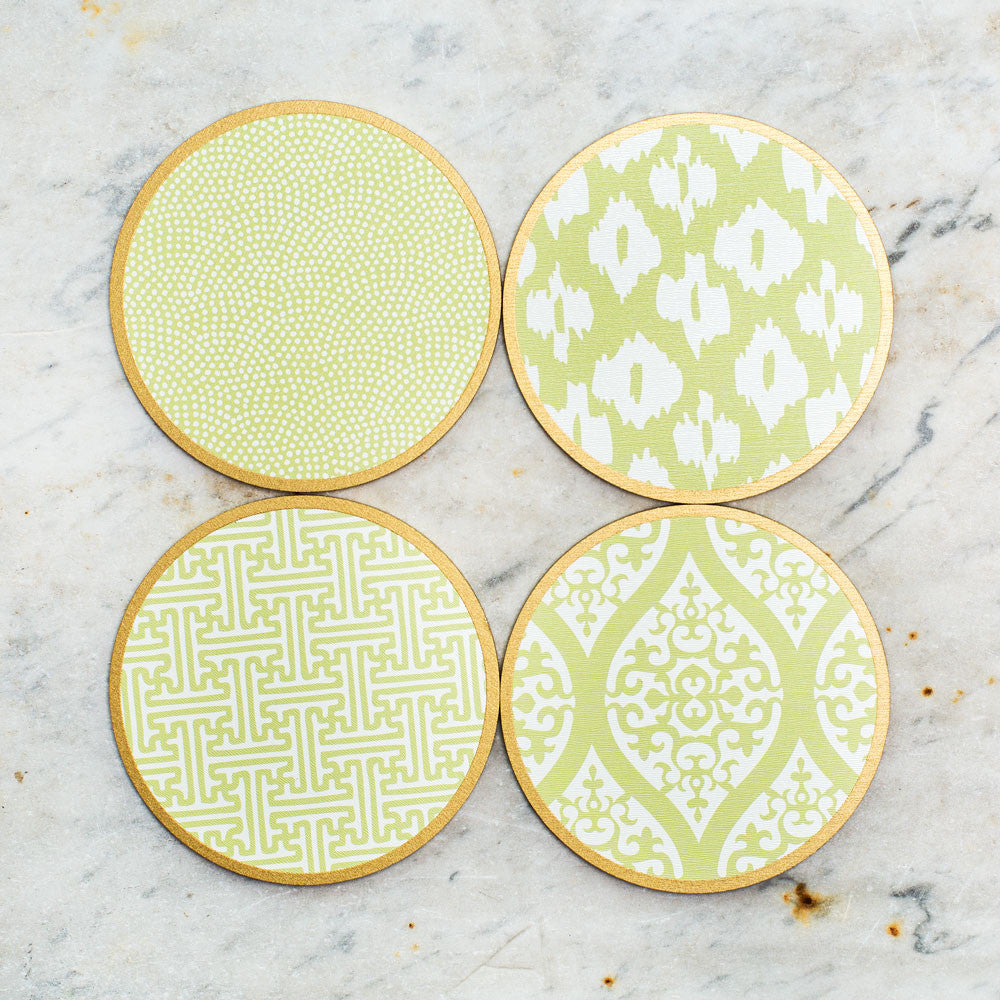 hardwood coasters-kitchen & dining - bar & drinkware - special-holly stuart designs-lime mix-k colette