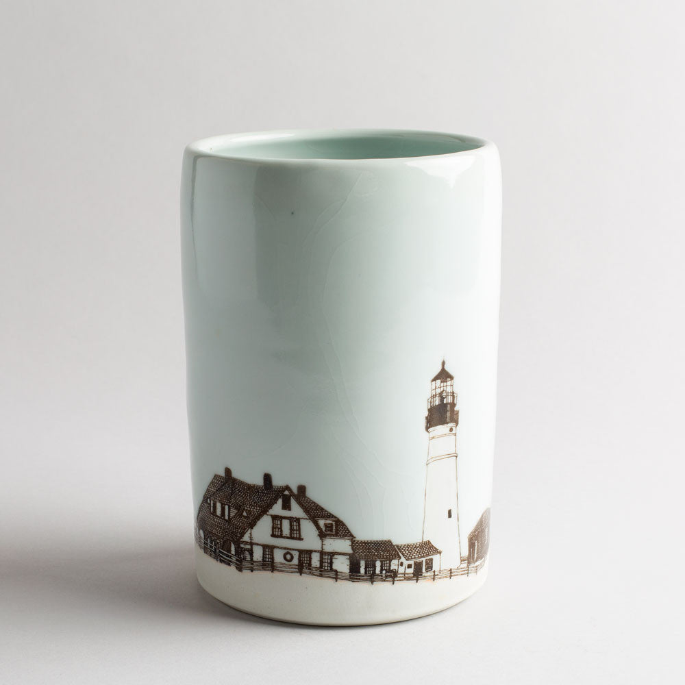 illustrated vase-art & decor - vases-skt ceramics-white portland head light-k colette