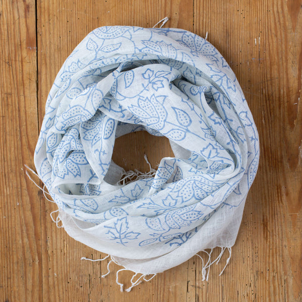floral print linen scarf-accessories - scarves - stylish-sudarshan-k colette