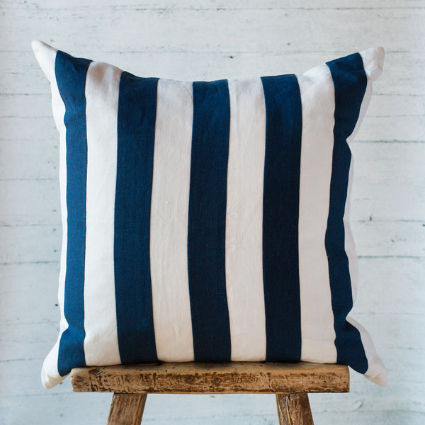indigo rugby stripe linen pillow-bed & bath - decor - pillows-taylor linens-k colette