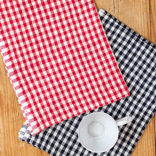 classic gingham tea towels-kitchen & dining - tea towels & aprons-couleur nature-blue-k colette