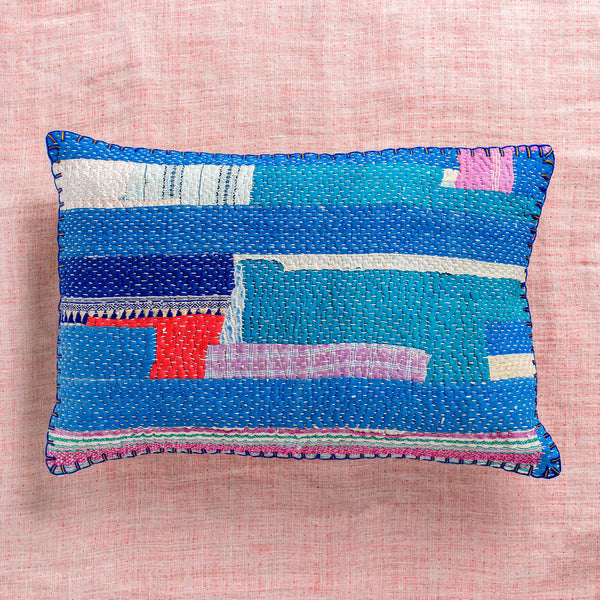 vintage ralli multicolor lumbar pillow no. 2-bed & bath - decor - pillows - vintage textiles-john robshaw-k colette
