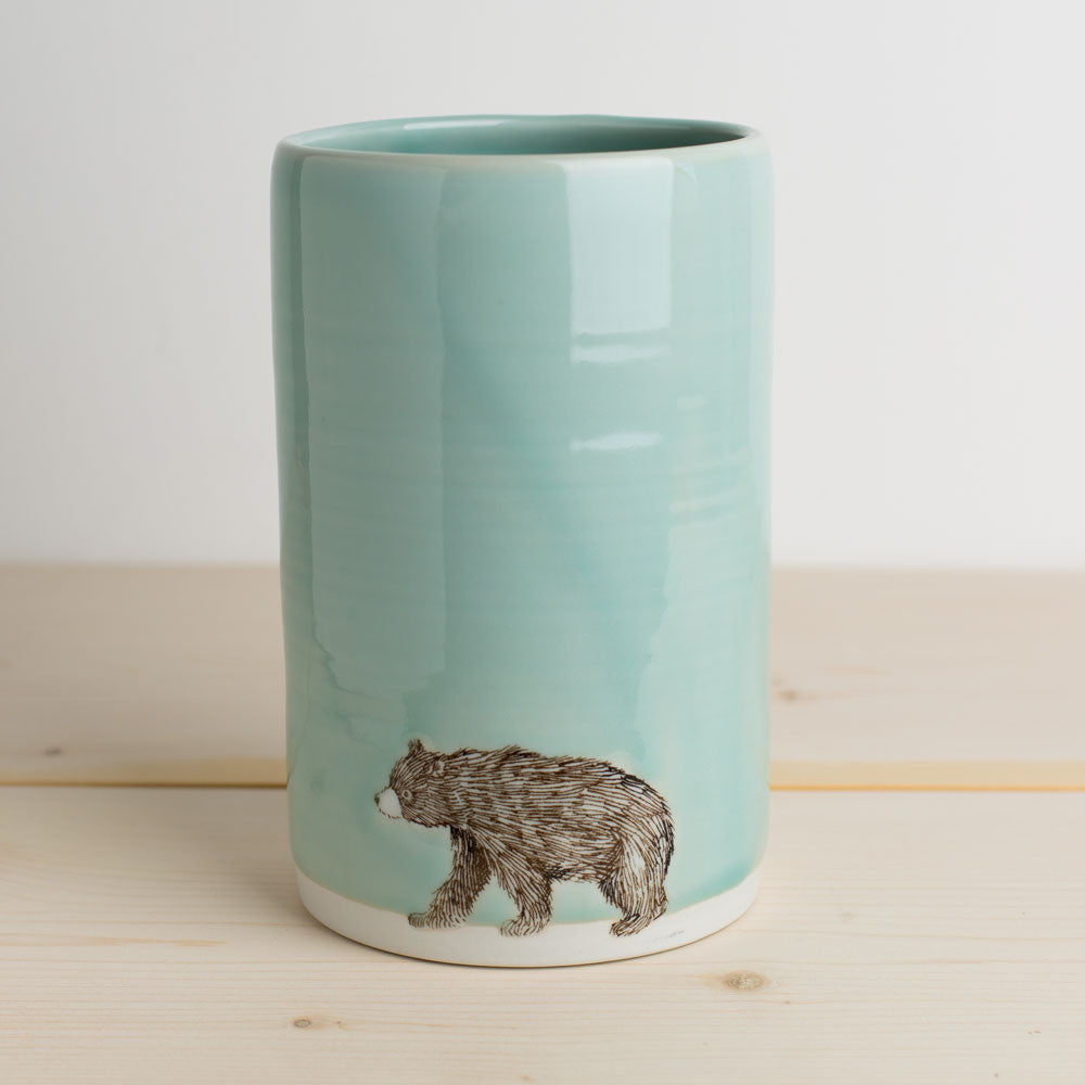 illustrated vase-art & decor - vases-skt ceramics-celadon bear-k colette