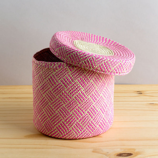 lidded africa iraca straw basket, pink-desktop - utility & storage - art & decor - decorative objects-guanábana-small-k colette