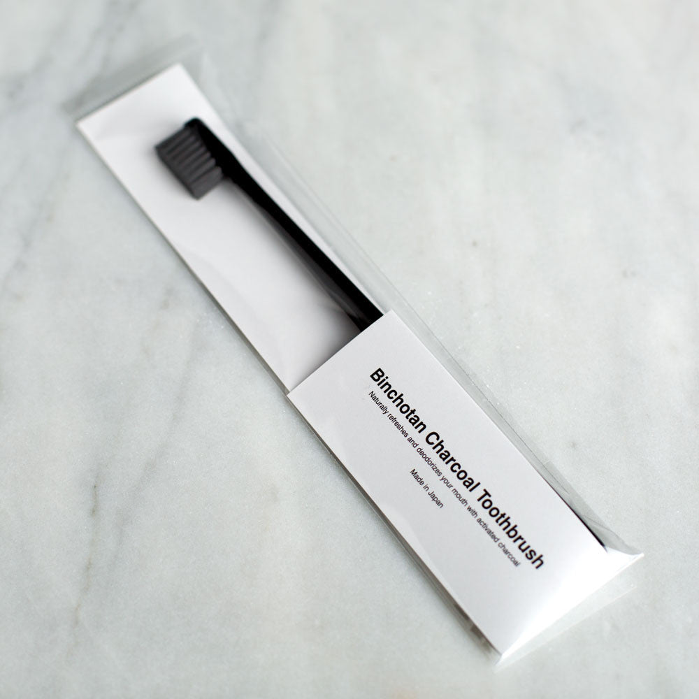 charcoal toothbrush-bed & bath - bath accessories - stocking-binchotan charcoal by morihata-black-k colette