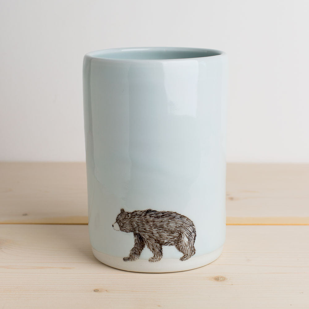 illustrated vase-art & decor - vases-skt ceramics-white bear-k colette