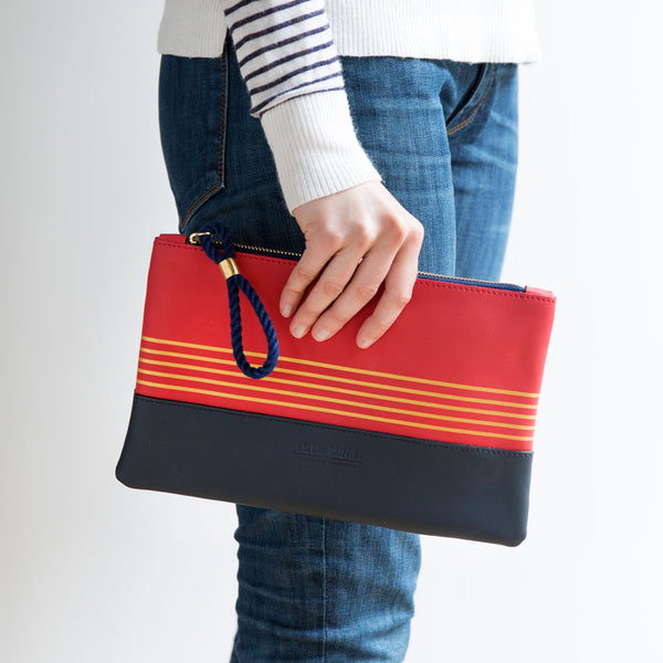 buoy block clutch, coral & navy-accessories - handbags & clutches - stylish-eklund griffin-k colette