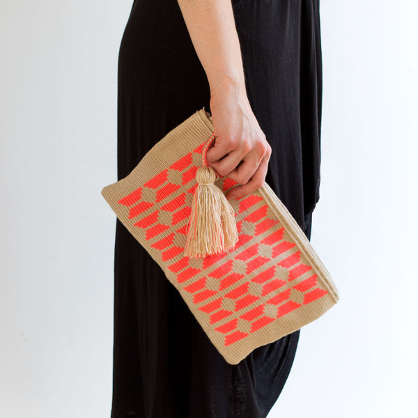 bahamas wayuu clutch, coral-accessories - handbags & clutches-guanábana-Default-k colette