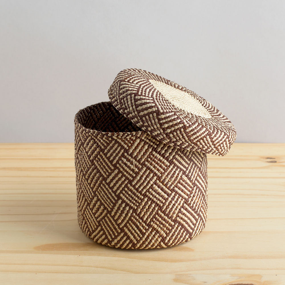 lidded africa iraca straw basket, toast-desktop - utility & storage - art & decor - decorative objects - sale-guanábana-medium-k colette