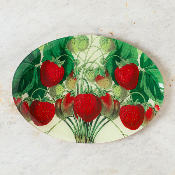 strawberries oval tray-art & decor - decoupage-john derian-k colette