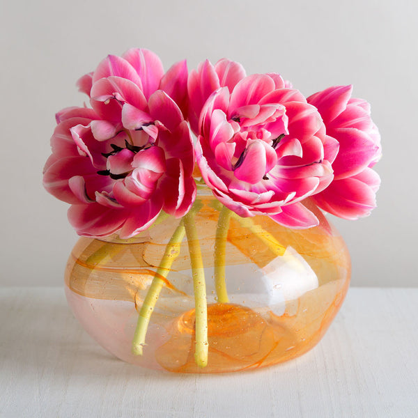 blown glass watercolor bowl-art & decor - vases - love-lbk studio-pink & orange-k colette
