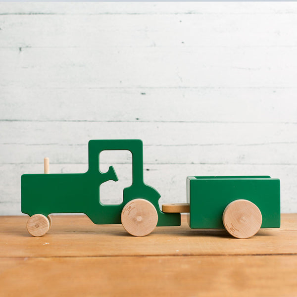tractor & trailer wooden push toy-baby - toys-manny & simon-Default-k colette