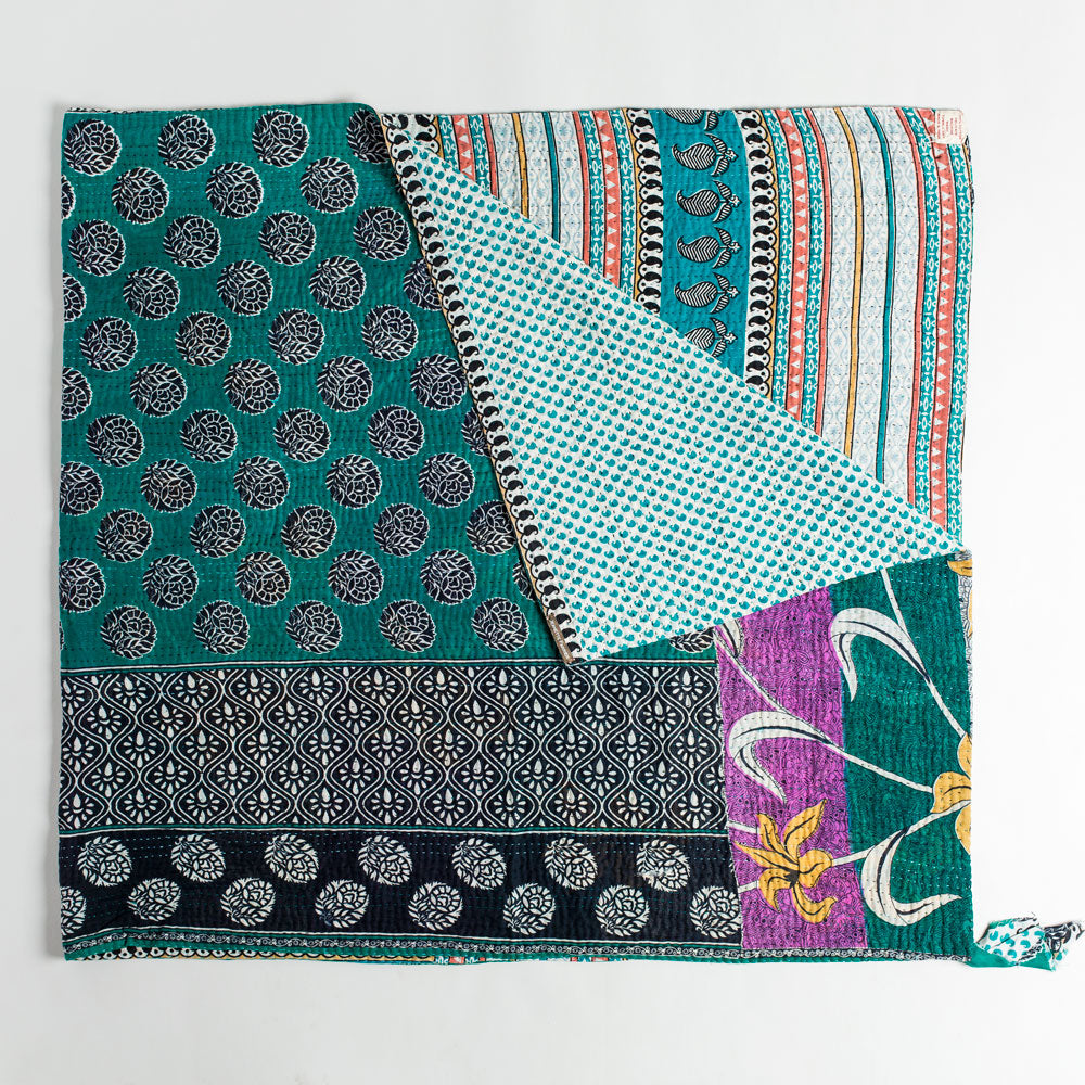 kantha throw-art & decor - throws - vintage textiles - ooak-jeanette farrier-Black and Teal Medallion-k colette
