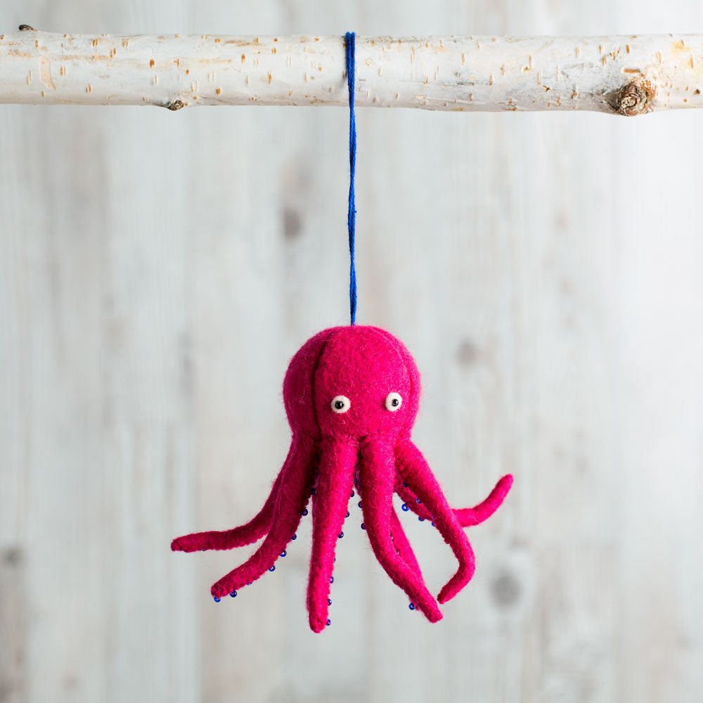 pink octopus ornament-holiday - ornaments-craftspring-k colette