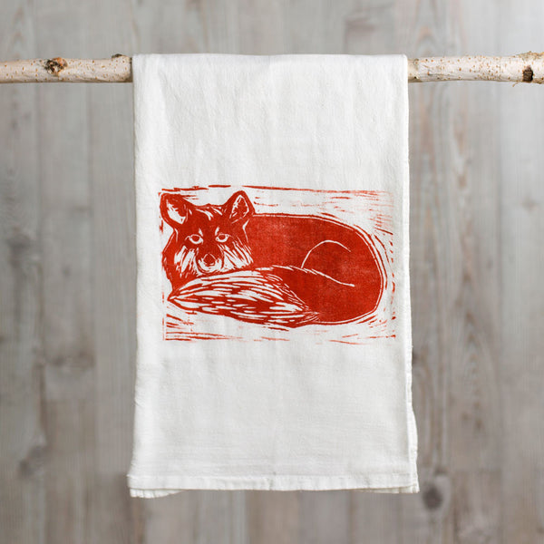 fox wood block print tea towel-kitchen & dining - tea towels & aprons-color.joy-Default-k colette