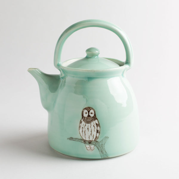 illustrated teapot-kitchen & dining - serveware-skt ceramics-celadon owl-k colette