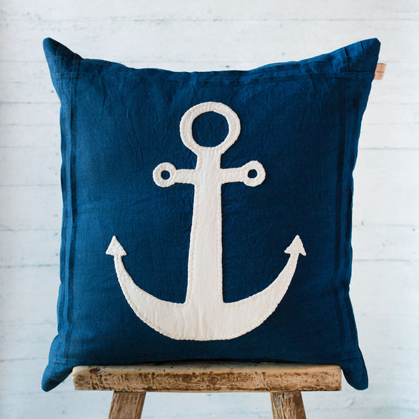 indigo anchor linen pillow-bed & bath - decor - pillows - sea-taylor linens-k colette