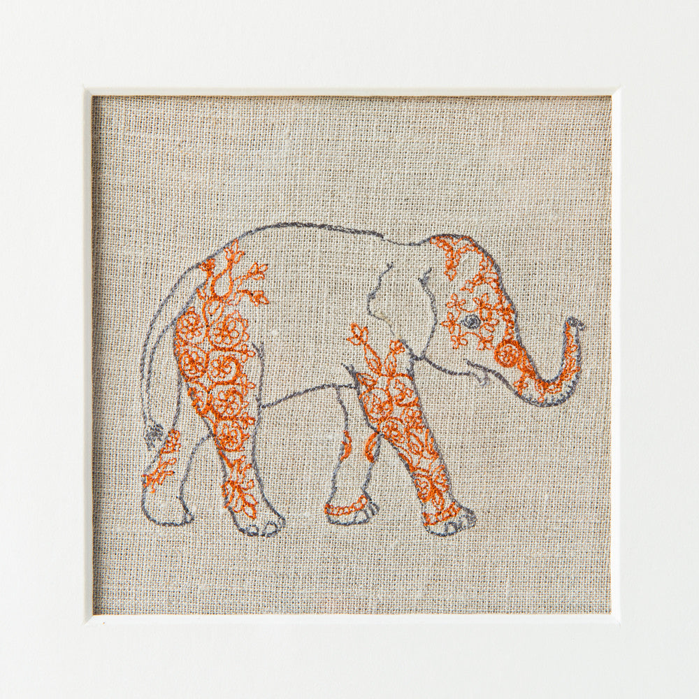 indian elephant framed art-baby - nursery decor-coral & tusk-k colette