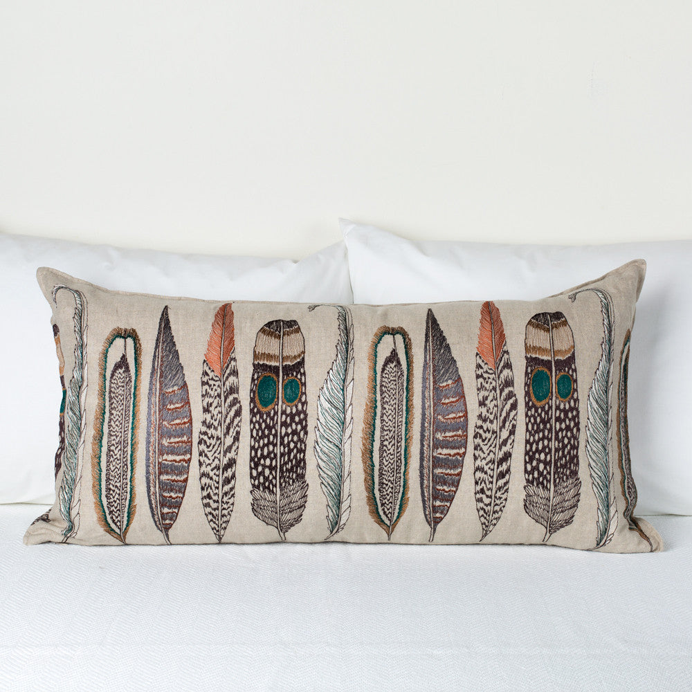 large feathers lumbar pillow-textiles - pillows-coral & tusk-Default Title-k colette