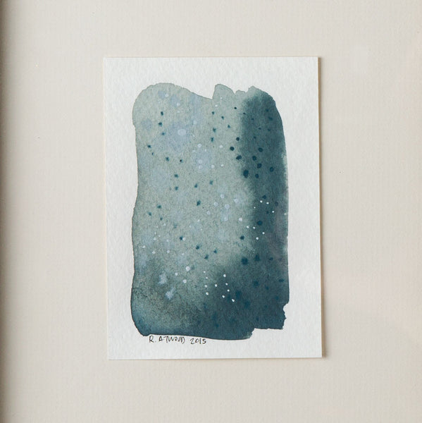 'small dots on teal' watercolor painting-art & decor - paintings & prints - ooak-rebecca atwood-k colette