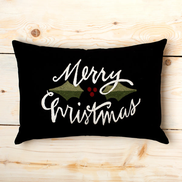 merry christmas embroidered pillow-holiday - bedroom - decor - pillows-taylor linens-k colette