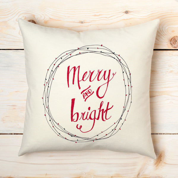 merry & bright canvas pillow-holiday - bedroom - decor - pillows-taylor linens-k colette