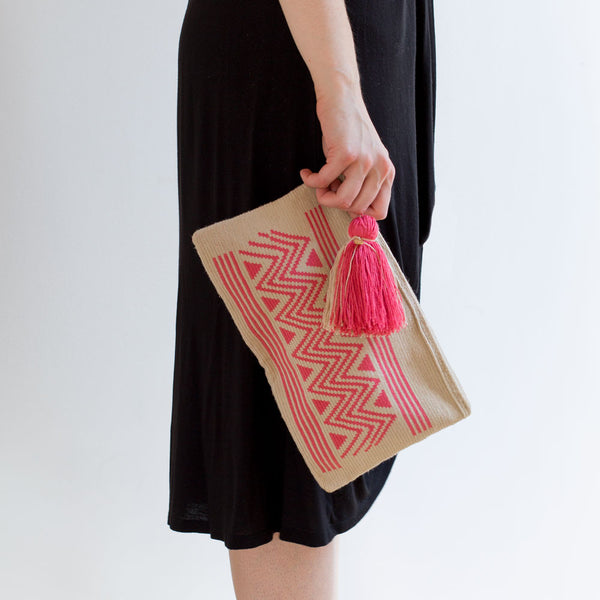 zig zag wayuu clutch, pink-accessories - handbags & clutches-guanábana-Default-k colette