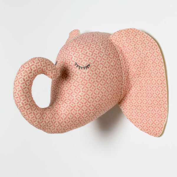 pink sleepy elephant head-baby - nursery decor-fiona walker-Default-k colette